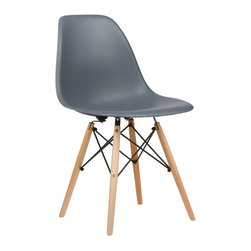 Poly+Bark - Eames Style DSW Accent Side Chair Natural Legs - Set of 2, Grey - Charles Eames's DSW (Dining Side Wood chair) Molded Plastic Chair was a winning entry of the Low Cost Design Competition organised by the New York Museum of Modern Art in 1948.