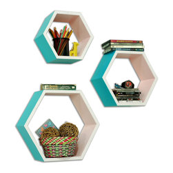 Blancho Bedding - [Sky Sunshine]Hexagon Leather Wall Shelf / Bookshelf / Floating Shelf (Set of 3) - floating wall shelf, kitchen wall decor, storage shelf, wood wall shelves, bathroom wall decor, wall bookshelves, turquoise wall shelf, blue wall shelf, hexagon wall shelf