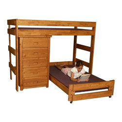 Chelsea Home - 80 in. Twin Over Twin Loft Bed - NOTE: ivgStores DOES NOT offer assembly on loft beds or bunk beds.. Includes slat packs and five drawers chest. Mattresses not included. Rustic style. Metal brackets are used to connect the rails to the headboard and footboard. Rails with 1.25 in. cleat which is glued and screwed to the rail for extra strength to support the mattress foundation. Drawer mounted on a rolling metal glide for easy opening and closing. Exceed all safety standards of the consumer product safety commission. Constructed for strength and durability. Can hold up to 400 lbs. of distributed weight. Warranty: One year. Made from solid pine wood. Ginger stain finish. Made in USA. Assembly required. Distance from floor and bottom of top bunk: 49 in.. Drawer: 12 in. W x 19 in. D x 4.5 in. H. Overall: 80 in. L x 80 in. W x 62 in. H (300 lbs.). Bunk Bed Warning. Please read before purchase.Warning: Falling hazard, bunk beds should be used by children 6 years of age and older!