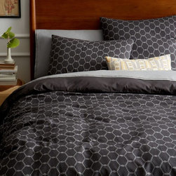 Arabesque Jacquard Duvet Cover, Slate - This duvet cover in slate has a masculine feel and will add just the right amount of pattern to a boy's room.