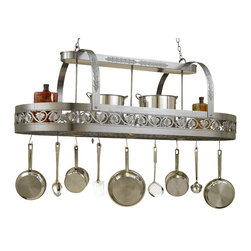 Hi-Lite MFG - Leaf 3-Lite Pot Rack in Satin Steel Finish - Includes eight pot rack hooks, 3 ft. chain and 7 ft. wire. Accessories not included. UL listed. Made from steel. 65 in. L x 31 in. W x 24 in. HHi-Lite achieved success through attention to detail and stubbornness to only manufacture the highest quality product. Hi-Lite has built its reputation as a premier lighting manufacturer by using only the finest raw materials, inspirational designs, and unparalleled service. This allows us great flexibility with our designs as well as offering you the unique ability to have your custom designs brought to light.
