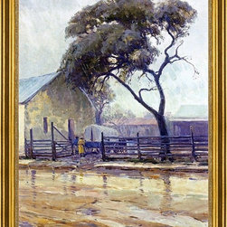 """Julian Onderdonk-18""""x24"""" Framed Canvas - 18"""" x 24"""" Julian Onderdonk Rainy Day in Bandera framed premium canvas print reproduced to meet museum quality standards. Our museum quality canvas prints are produced using high-precision print technology for a more accurate reproduction printed on high quality canvas with fade-resistant, archival inks. Our progressive business model allows us to offer works of art to you at the best wholesale pricing, significantly less than art gallery prices, affordable to all. This artwork is hand stretched onto wooden stretcher bars, then mounted into our 3"""" wide gold finish frame with black panel by one of our expert framers. Our framed canvas print comes with hardware, ready to hang on your wall.  We present a comprehensive collection of exceptional canvas art reproductions by Julian Onderdonk."""