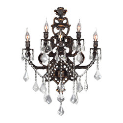 """Worldwide Lighting - Versailles 5 Light Flemish Brass Finish and Crystal Wall Sconce Light 19"""" W - This stunning 5-light wall sconce only uses the best quality material and workmanship ensuring a beautiful heirloom quality piece. Featuring a radiant flemish brass finish and finely cut premium grade crystals with a lead content of 30%, this elegant wall sconce will give any room sparkle and glamour. Worldwide Lighting Corporation is a privately owned manufacturer of high quality crystal chandeliers, pendants, surface mounts, sconces and custom decorative lighting products for the residential, hospitality and commercial building markets. Our high quality crystals meet all standards of perfection, possessing lead oxide of 30% that is above industry standards and can be seen in prestigious homes, hotels, restaurants, casinos, and churches across the country. Our mission is to enhance your lighting needs with exceptional quality fixtures at a reasonable price."""
