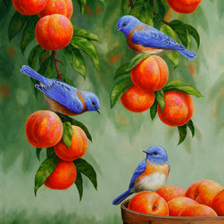 Crista Forest - Bird Painting - Bluebirds & Peaches - Original oil painting of western bluebirds in a peach tree.