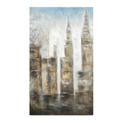 "Vertuu Design - 'City Midst II' Artwork - A muted color palette and soft lines combine in the ""City Mist II"" Artwork to create a relaxed. but detailed appearance. This hand-painted canvas showcases urban architecture in neutral tones. Silver leaf accents add texture and shine to the piece. Display it alongside colorful artwork or photography for a unique look."