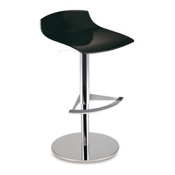PAPATYA - PAPATYA X-TREME B BAR STOOL, Solid Black - Elegant Bar Stool made of polycarbonate shell and available with height adjustable, central-pedestal steel base. Anti UV stabilised. Seat height min: 24.8 max: 29.5