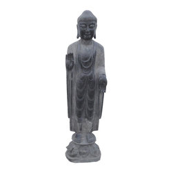 Golden Lotus - Chinese Antique Stone Standing Carving Peaceful Buddha - This is a Chinese antique standing Buddha which is made of stone.  Especially, its body comes with very detail carving on it.  It should be a gorgeous garden statue.