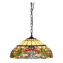 "Chloe Lighting - Chloe 'Hester' Tiffany-Style Victorian 2-Light Ceiling Pendant Fixture 18"" Shade - Hester, a Victorian downward hanging lamp, has the style and colors to enhance any decor Expertly handcrafted with top quality materials, including real stained glass, gem-like cabochons and sparkling crystals. It is finished in an antique bronze patina."