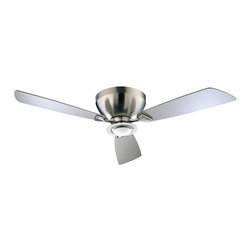 "Quorum - Contemporary 44"" Nikko Satin Nickel Hugger Ceiling Fan - A low profile contemporary design perfect for rooms with lower ceilings. The wing-swept blades and simple design make a sophisticated impression. The satin nickel finish is matched nicely with three satin nickel finish blades. (MAP)  Satin nickel finish motor  Three satin nickel finish blades.   44"" blade span.  153x18mm motor size.   White opal glass light kit.   Takes one 50 watt minican halogen bulb (included).   Wall control included.   Limited lifetime motor warranty.   13 1/2 degree blade pitch.   Fan height 7.0"" ceiling to blade.   Fan heigt 8.75"" ceiling to bottom of light kit."