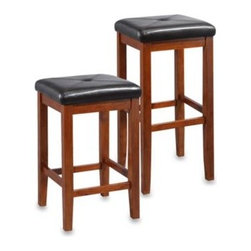 Crosley - Crosley Upholstered Square-Seat Bar Stools (2-Piece Sets) - Enjoy the perfect blend of comfort and style with these upholstered square-seat bar stools.