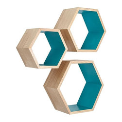 Ash Wood Nesting Hexagon Shelves - Set of 3 - These ash wood Nesting Hexagon Shelves are the ultimate stylish yet functional addition to your living space. They offer a surprising amount of space to display your favorite decorative items. Showcasing the mid-century modern style, they are the perfect design element to enhance any wall.