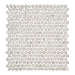 SomerTile Posh Penny Round Ash Porcelain Mosaic Tile - I like the color variation in this penny round tile.