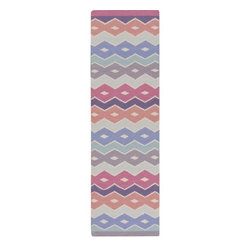 """Surya - Native Carnation, Eggplant and Mauve Wool Runner (2'6"""" x 8') - Offering natural coziness with hand woven natural wool construction, the runner is accented with Zig-Zag pattern in vivid tones such as Carnation, Eggplant and Iris.    Features:"""