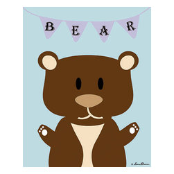 Oh How Cute Kids by Serena Bowman - Mod Bear in Blue, Ready To Hang Canvas Kid's Wall Decor, 8 X 10 - Each kid is unique in his/her own way, so why shouldn't their wall decor be as well! With our extensive selection of canvas wall art for kids, from princesses to spaceships, from cowboys to traveling girls, we'll help you find that perfect piece for your special one.  Or you can fill the entire room with our imaginative art; every canvas is part of a coordinated series, an easy way to provide a complete and unified look for any room.
