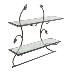 Leaf Black Wall Shelf Towel Bar - Stone County 900-270-GLS Wall Shelf with Pencil Edge Glass shelves. - Installation Required: Yes.