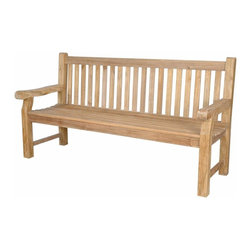 Anderson Teak - Devonshire 4-Seater Extra Thick Bench - Unfinished - A family sized bench is a welcome convenience for any public location.  Designed to comfortably seat up to four, it incorporates a square post design and straight back with slats and armrests.  Teak makes it an exceptional choice for outdoors. * 4-Seater. Straight slat back design. With arms. Teak wood construction. Overall: 72 in. L x 21 in. W x 39 in. H (75 lbs.). Seat height: 18 in.The classic Devonshire Bench is recommended for use in parks, malls, hotels, resorts, city sidewalks or public squares. These are the benches that be used robustly for generations. This is simple traditional styling that has not ever and will not ever go out of style, but quietly blends with any decor. We have made subtle but careful design changes to ensure excellent back support. Quality built for decades.