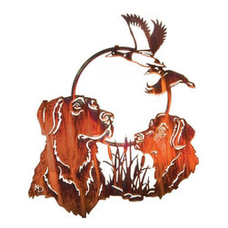 Lazart - Hunting Pals 18-inch Rustic Metal Wall Art - The  hunting  dogs  portrayed  in  this  wonderful  rustic  metal  wall  art  are  fast  friends  and  long-time  pals  through  all  the  adventures  of  life.  Loyal  to  the  end,  they  happily  retrieve  the  day's  catch  for  the  simple  reward  of  a  Good  boy!  and  a  pat  on  the  head.  Finished  in  honey  pinion,  this  finely  detailed  metal  wall  art  is  laser  cut  from  cold  rolled  steel.  The  honey  pinion  finish  is  applied  through  a  special  heat  transfer  process  to  seal  the  finish  to  the  metal  for  long  life.            See  more  rustic  hunting  and  fishing  metal  wall  art.                  Honey  pinion  finish  is  applied  through  a  heat  transfer  process  for  durability              Honor  the  hunting  pals  who  serve  so  diligently  with  this  metal  art  portrait