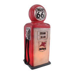 Zeckos - 1950's Style Rt. 66 Gas Pump Accent Lamp/Night Light - This colorful 1950's style Route 66 gas pump accent lamp makes a great night light. The head of the pump has a domed Route 66 sign and the base features a slightly altered version of the Mobilgas logo. The lamp measures 10 1/4 inches tall, 4 inches long and 3 1/2 inches wide. The lamp has a 5 foot power cord with a thumbwheel on/off switch. It is hand-painted, and makes a great gift for nostalgia lovers.