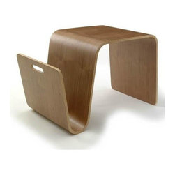 Offi - Offi Mag Side Table in Walnut Finish with Magazine Rack (Set of 3) - Designed by Eric Pfeiffer from Pfeiffer Lab - San Francisco, CA. Made from molded ply with natural wood veneer. 25.5 in. W x 14 in. D x 16 in. HA flexible side table that stores your magazines while providing a surface for a cup of coffee or an extra seat. When it's time to check email, flip this table on its side and it transforms into a laptop stand.
