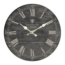 YOSEMITE HOME DECOR - 19 in. Square MDF Wall Clock distressed  black wooden frame - Look outside of the box with this original wall clock. This one of a kind clock is enclosed in a wooden frame that has a distressed black finish. The dial is a darker shade of black that is not as distressed as the frame. The clock has roman numerals with gold hour and minute hands to give it a touch of fancy. The words Kensington London are stamped just below the twelve with a fleur-de-lis emblem.