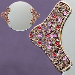Artico - Round Mirror Tray with Classic Nature Crystal Jewels on Handles - This gorgeous Round Mirror Tray with Classic Nature Crystal Jewels on Handles has the finest details and highest quality you will find anywhere! Round Mirror Tray with Classic Nature Crystal Jewels on Handles is truly remarkable.