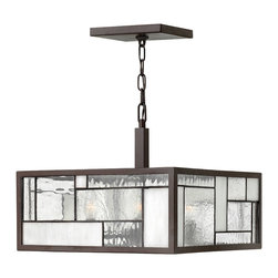 Hinkley Lighting - Mondrian Small 4-Light Pendant - The Mondrian Collection features multiple panes of glass arranged in a Cubist design. Buckeye Bronze Finish With Copper Foil Bound Glass Panels.This fixture can be chain hung or mounted flush to the ceiling. ADA Compliant. 60 in. of chain and 72 in. of leadwire included for installation. 7 in. diameter canopy.