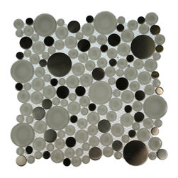 "GlassTileStore - Ice Cave Circles Glass & Metal Tiles - Loft Ice Cave Circles Glass Tile             This striking circle blend of glass and stainless steel creates a sleek and attractive design for any room. Add a pop to any room with these beautiful tiles that are versatile; great to use for a back splash, kitchen, bathroom or any decorated room installation.           Chip Size: Random Circles   Color: Super White and Stainless    Material: Glass and Stainless Steel   Finish: Polished and Brushed   Sold by the Sheet - each sheet measures 12"" x 12"" (1 sq. ft.)   Thickness: 8mm   Please note each lot will vary from the next.            - Glass Tile -"
