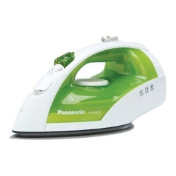 Panasonic - Steam Iron with Curved Soleplate 1200w - 1200-watt U-shaped steam circulating soleplate with titanium non-stick coating|3-postion auto shut off|Temperature dial control has quick-reference fabric/temperature chart|Temperature-ready indicator light|Steam/dry pushbutton|Adjustable steam (high/low)|Jet-of steam / self-cleaning feature|Spray mist pushbutton|Built-in water tank has 7.1 ounce capacity and large water window|Automatic retractable cord reel|  panasonic| ni-e300tr| nie300tr| steam/dry| steam| dry| iron| titanium| non-stick| coated| curved| u-shaped| soleplate  Package Contents: clothes iron|manual|warranty  This item cannot be shipped to APO/FPO addresses