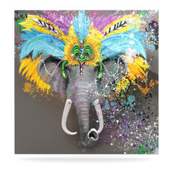 "Kess InHouse - Geordanna Cordero-Fields ""My Elephant with Headdress"" Gray Rainbow Metal Luxe Pa - Our luxe KESS InHouse art panels are the perfect addition to your super fab living room, dining room, bedroom or bathroom. Heck, we have customers that have them in their sunrooms. These items are the art equivalent to flat screens. They offer a bright splash of color in a sleek and elegant way. They are available in square and rectangle sizes. Comes with a shadow mount for an even sleeker finish. By infusing the dyes of the artwork directly onto specially coated metal panels, the artwork is extremely durable and will showcase the exceptional detail. Use them together to make large art installations or showcase them individually. Our KESS InHouse Art Panels will jump off your walls. We can't wait to see what our interior design savvy clients will come up with next."