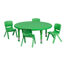 Flash Furniture - Flash Furniture 45 Inch Round Adjustable Green Plastic Activity Table Set w/ 4 S - This table set is excellent for early childhood development. Primary colors make learning and play time exciting when several colors are arranged in the classroom. The durable table features a plastic top with steel welding underneath along with height adjustable legs. The chair has been properly designed to fit young children to develop proper sitting habits that will last a lifetime. [YU-YCX-0053-2-ROUND-TBL-GREEN-E-GG]
