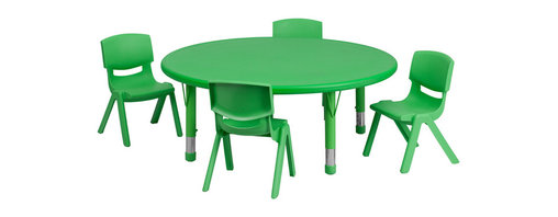 Flash Furniture - Flash Furniture 45 Inch Round Adjustable Green Plastic Activity Table Set - This table set is excellent for early childhood development. Primary colors make learning and play time exciting when several colors are arranged in the classroom. The durable table features a plastic top with steel welding underneath along with height adjustable legs. The chair has been properly designed to fit young children to develop proper sitting habits that will last a lifetime. [YU-YCX-0053-2-ROUND-TBL-GREEN-E-GG]