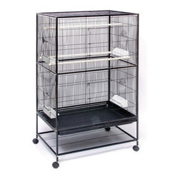 """Prevue Hendryx - Flight Cage in Black - Designed for multiple small birds or Sugar Gliders. Wrought iron construction, bottom shelf for storage, two large hinged front doors, side nesting box doors. Pull-out grille & drawer for easy cleaning. -Includes 4 plastic double cups, 3 wood perches, stand with casters. -Black hammer-tone finish. -Measures 31"""" L x 20.5"""" W x 53"""" H (including stand). -Cage Dimensions: 31"""" L x 20.5"""" W x 40"""" H. -12 & 16 gauge wire. -0.5"""" spacing.. -90 day warranty."""
