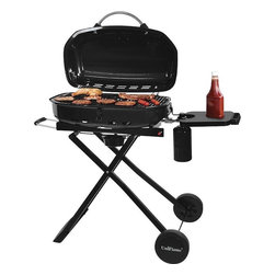 Blue Rhino - Portable LP Gas Grill - Blue Rhino /Uniflame Portable LP Gas Grill - 16 Burger capacity (294 sq. In. Cooking grid), 15000 BTUs. Cooking heat. Features include a blue porcelain coated hinged lid. Foldable cart and locking lid for safe portability. Porcelain-coated steel cooking grid and push button ignition.