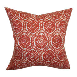 """The Pillow Collection - Cniva Floral Pillow Cayenne 18"""" x 18"""" - Bring in a bohemian twist to your home with this stunning throw pillow in cayenne red and white hues. This accent pillow features a classic floral print pattern which is inviting and scene stealing. This decor pillow is crafted from 100% soft cotton fabric making it an ideal for your sofa, bed and sectionals. This refreshing square pillow is a great center piece, and it suits many decor styles. Mix this with solid pillow to add a beautiful contrast. Hidden zipper closure for easy cover removal.  Knife edge finish on all four sides.  Reversible pillow with the same fabric on the back side.  Spot cleaning suggested."""