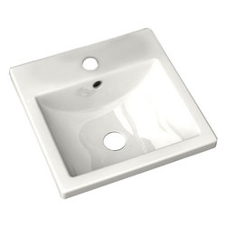 """American Standard - American Standard 0642.001.020 Studio Countertop Sink, White - American Standard 0642.001.020 Studio Countertop Sink, White. This countertop sink has a square, self-rimming design with a rectangular curved bottom bowl. It features a vitreous china construction, a rear overflow, a generous faucet ledge, and it comes with it's own cut-out template. This model measures 16-3/8"""" square, with a 4-3/4"""" deep bowl, and comes with a single, centered faucet mounting hole."""
