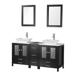 "Design Element - Arlington 61"" Double Sink Vanity Set in Espresso - The Arlington 61"" double-sink vanity is elegantly designed and constructed of quality woods. The white porcelain vessel sinks and Carrara White Marble countertops beautifully contrast with the rich features of the espresso cabinetry to bring a crisp contemporary look to any bathroom. This stylish design includes two soft-closing double-door cabinets and seven drawers. Included with this set are two matching espresso mirrors. The Arlington Bathroom Vanity is designed as a centerpiece to awe and inspire the eye without sacrificing quality functionality or durability."