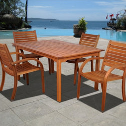 "Lamps Plus - Transitional Amazonia 5-Piece Arizona Eucalyptus Rectangular Dining Set - Amazonia 5-Piece Arizona Eucalyptus Rectangular Dining SetBrown finish. Solid Eucalyptus wood and galvanized steel hardware. Includes free wood preservative for durability. 100-percent FSC Eucalyptus Wood. Could be used indoors or outdoors. Great functionality. From the Amazonia Arizona collection. 5 individual pieces. Includes one rectangular table and four stacking armchairs. Some assembly required. Rectangular table 59"" wide 36"" deep 29"" high. 4 stacking armchairs 23"" wide 23"" deep 36"" high.  Brown finish.  Solid Eucalyptus wood and galvanized steel hardware.  Includes free wood preservative for durability.  100-percent FSC Eucalyptus Wood.  Could be used indoors or outdoors.  Great functionality.  From the Amazonia Arizona collection.  5 individual pieces.  Includes one rectangular table and four stacking armchairs.  Some assembly required.  Rectangular table 59"" wide 36"" deep 29"" high.  4 stacking armchairs 23"" wide 23"" deep 36"" high."