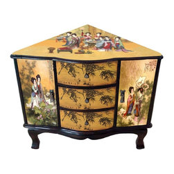 Oriental Furniture - Enchanted Ladies Corner Cabinet - A lovely, sturdy, and well built cabinet, crafted in a unique Chinese corner cabinet design. Beautifully decorated with colorful parchment decoupage with Chinese ladies, bamboo trees, and Chinese calligraphy designs. Provides both practical storage space and an attractive, distinctive shape, a one of a kind home decor accent that will catch your eye whenever you enter the room.