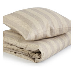 Libeco - Monterey Bed Linen Collection - Pillow Sham, Standard - Monterey is a subtle, striped fabric in soft colors- with a beachy feel about it.