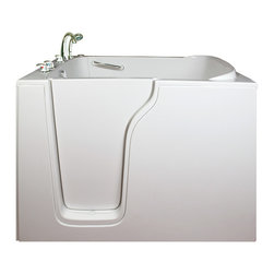 Ella's Bubbles - Ella Bariatric Hydro Massage Walk In Bath, Left Side Door - The Ella Bariatric 30-1/2 in. Wide Seat Walk-In Bathtub is Ella's widest walk-in bathtub. Our high quality gel coat bariatric walk-in bathtub has the largest seat of any walk-in bath on the market. With an extra wide 30-1/2 in. seat, a person of any size can enjoy a luxurious bath in comfort without worrying about getting in or out of the walk-in bathtub. Most standard-sized walk-in baths are made for people who can balance easily and who weigh less than 300 lbs. Our bariatric walk-in tub will accommodate anyone weighing up to 600 lbs. Our bariatric walk-in bathtub includes an anti-slip floor, low step for easy entrance, an extension panel to fit up to a 60 in. opening, a hand shower with pull out hose and a high quality Huntington Brass Roman Faucet set. You can chose from left or right hand side door and drain, the soaking model or the massage model which is equipped with air, hydro or dual therapy massage options.