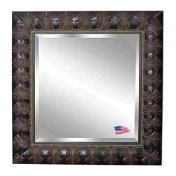 Rayne Mirrors - American Made Rayne Feathered Mahogany Wall Mirror - Spark drama in your space with this glamourous frame finished in a warm aged mahogany wood, embellished with feathered details.  This artfully tailored wall mirror presents a visually texture-rich refection. Rayne's American Made standard of quality includes; metal reinforced frame corner support, both vertical and horizontal hanging hardware installed and a manufacturers warranty.