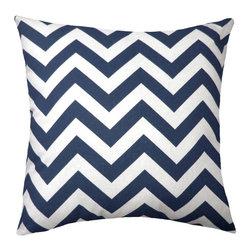 Land of Pillows - Chevron Outdoor Pillow, Navy - Fabric Designer - Premium Home Decor