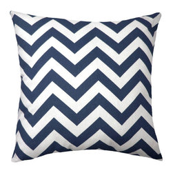 Land of Pillows - Chevron Outdoor, Navy, 16x16 - Fabric Designer - Premium Home Decor