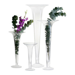 Abigails - Trumpet Vase, Clear, Large - Only one vase included in purchase.