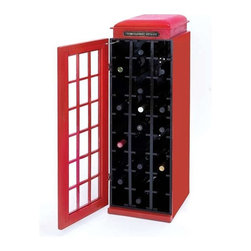 "BZBZ50118 - Wood Wine Cabinet with a Dark Black Finish - Wood Wine Cabinet with A Dark Black Finish. This exquisitely designed wine cabinet is shaped and colored to look like a lifelike phone booth. It comes with the following dimensions 14""W x 13""D x 41""H."