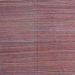 "ALRUG - Handmade Multi-colored Oriental Kilim  5' 10"" x 8' 3"" (ft) - This Afghan Kilim design rug is hand-knotted with Wool on Wool."