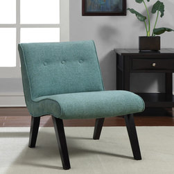 None - Aqua Armless Tufted Back Chair - This contemporary armless tufted chair is sure to make an impression. This chair features sturdy construction, plush foam-filled cushioning for optimum comfort, and an eye-catching modern design sure to make a chic highlight for any room.