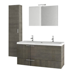ACF - 47 Inch Grey Oak Bathroom Vanity Set - Set Includes: Vanity Cabinet (2 Doors,2 Drawers), high-end fitted ceramic sink, wall mounted vanity mirror, tall storage cabinet. Vanity Set Features: Vanity cabinet made of engineered wood. Cabinet features waterproof panels. Vanity cabinet in grey oak f