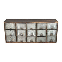 """Used Handmade Folk Art 15-Drawer Storage Chest - Vintage handmade rustic hardware storage cabinet. Wood frame with 15 drawers made from galvanized metal. A unique early 1900's handmade folk art cabinet.    15 drawers, each is 4 1/2""""l x 3 1/2""""w x 2 1/2""""d.  Overall dimension is 19 1/2""""l x 8 1/2""""h x 5""""d."""
