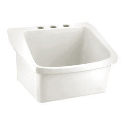 "American Standard - American Standard 9047.044.020 Surgeon's Scrub Sink, White - This American Standard 9047.044.020 Surgeon's Scrub Sink is part of the Additional Accessories collection, and comes in a beautiful White finish. This surgeon's scrub sink features a vitreous china construction, 8"" centered faucet mounting holes, a low-front rim, and a wall-hanger."